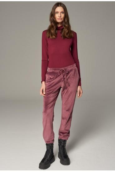 Spodnie welurowe MADALINE PANTS LTD brudny róż